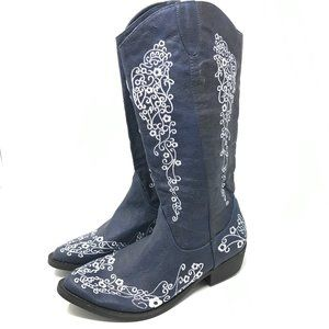 C Label Embroidered Western Cowboy Boots 7.5